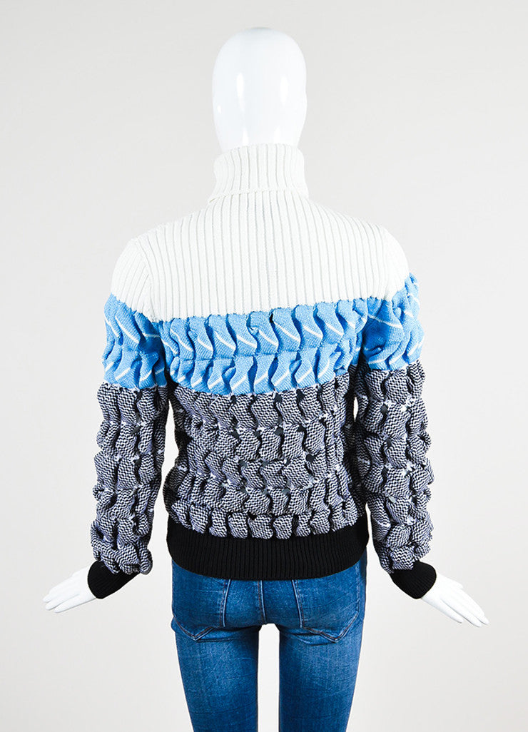 "White, Blue, and Black Alexander Wang ""Bubble Wrap Poseidon"" Sweater Backview"