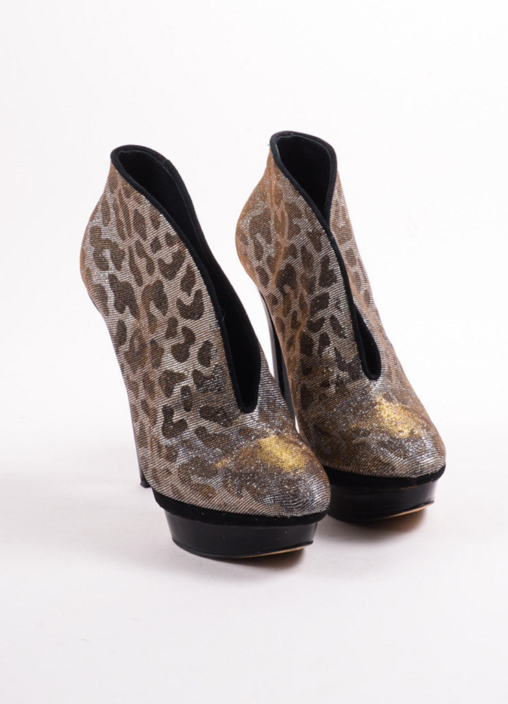 "B Brian Atwood Gold and Silver Glitter Leopard ""Fortosa"" Booties Frontview"