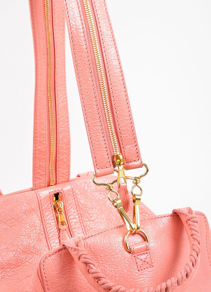 "¥éËBalenciaga Coral Pink Leather ""Giant 12 Traveller"" Convertible Backpack Detail 2"