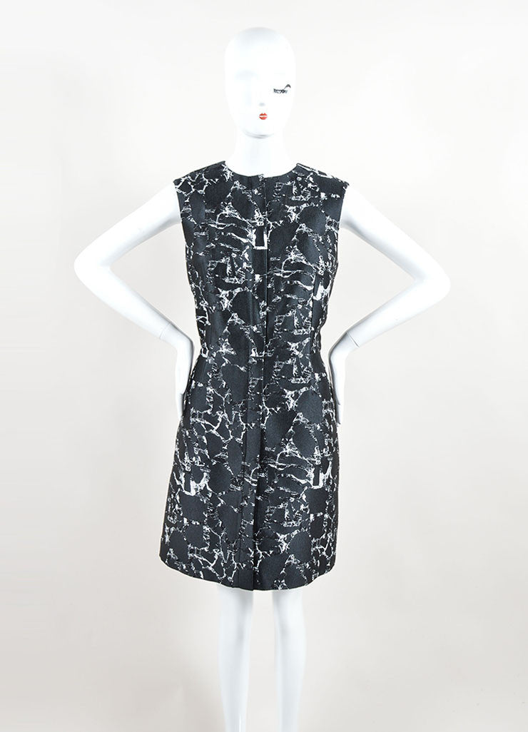 Balenciaga Black and White Cotton Marble Printed Jacquard Dress Frontview