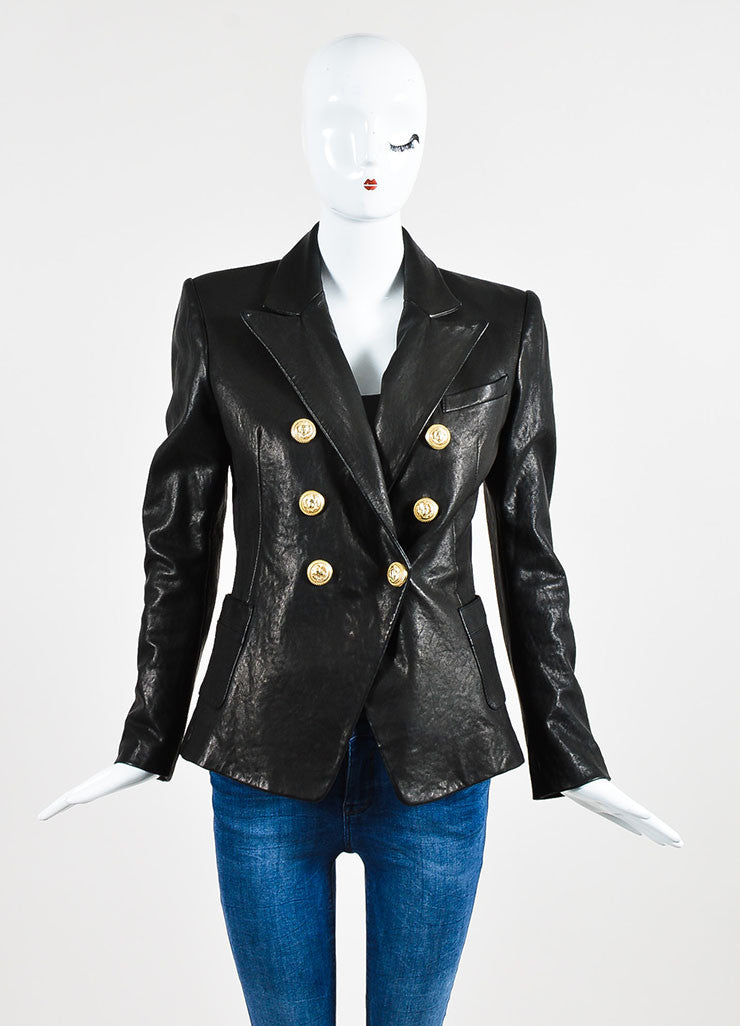 Balmain Black Lambskin Leather Lion Medallion Button Structured Blazer Frontview 2