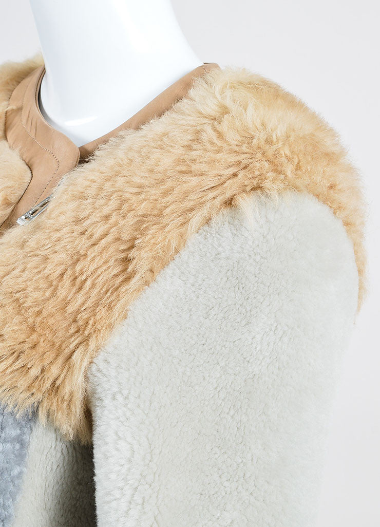 Tan, Grey, and Beige Belstaff Shearling Lambskin Reversible Coat Detail