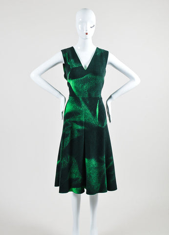 Bottega Veneta Green Wool Printed V Neck Sleeveless Dress Frontview