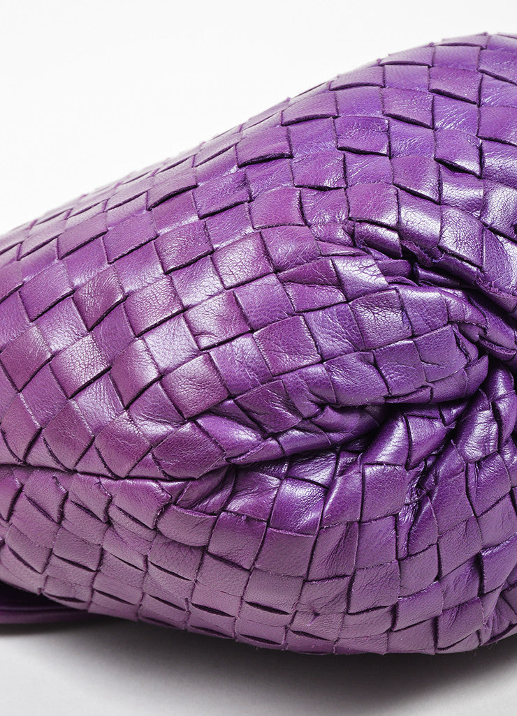 Purple Bottega Veneta Leather Intrecciato Knot Strap Crossbody Bag Detail