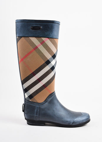 "Black Burberry ""House Check"" Multicolor Tall Rain Boots Side"