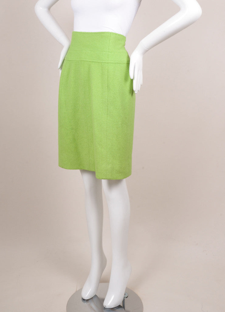 Chanel Lime Green Wool Boucle High Waisted Pencil Skirt Sideview