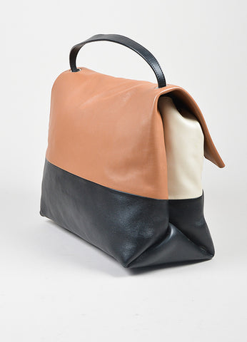 "Brown, Black, and Cream Leather Celine ""All Soft"" Fold Over Shoulder Bag and Pouch Sideview"