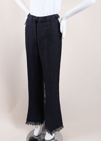 Chanel Dark Blue Linen High Waisted Lace Trim Flared Pants Sideview