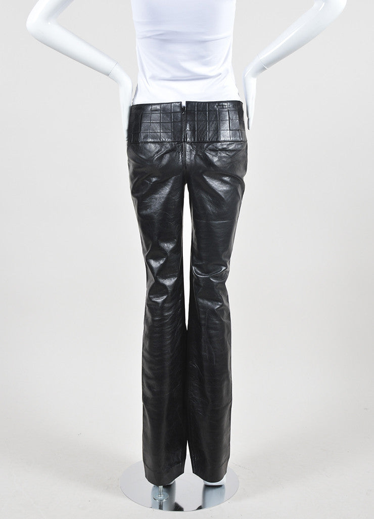 Black Chanel Leather Quilted Waist Boot Leg Pants Backview
