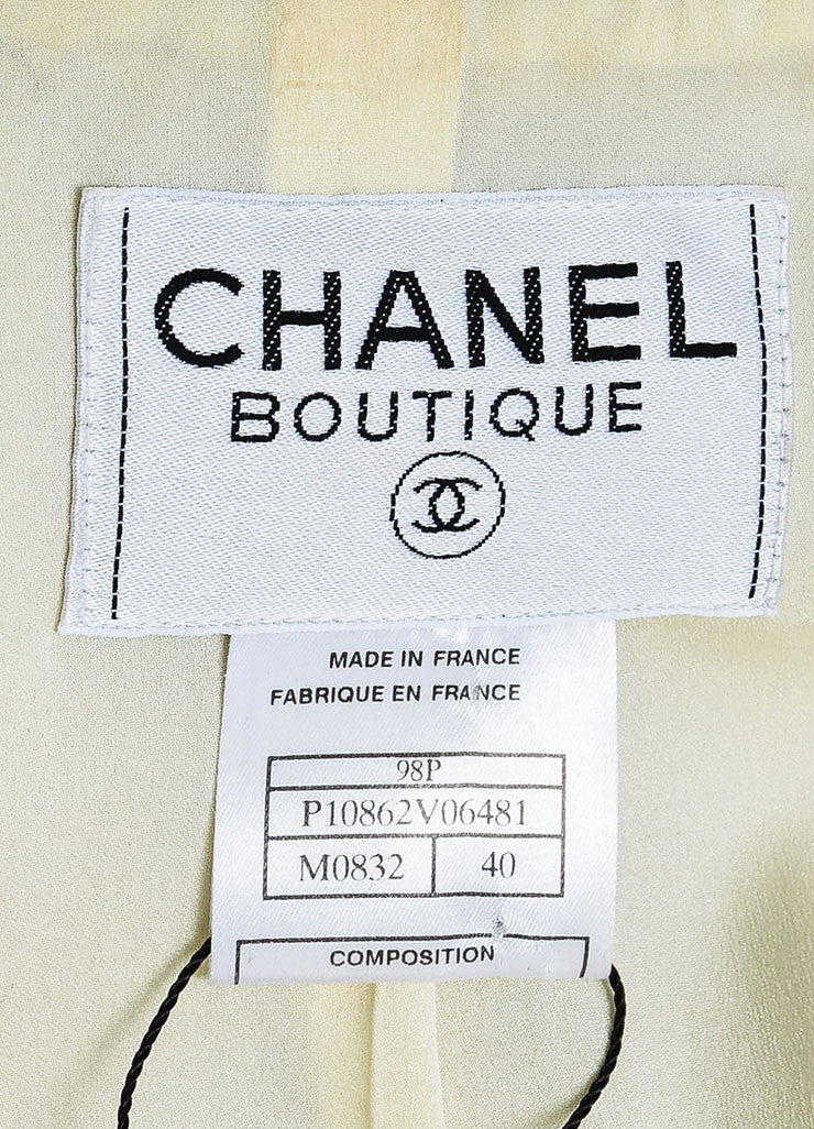 Cream and Black Chanel Wool Pattern Embroidered Notch Collar Button Jacket Brand