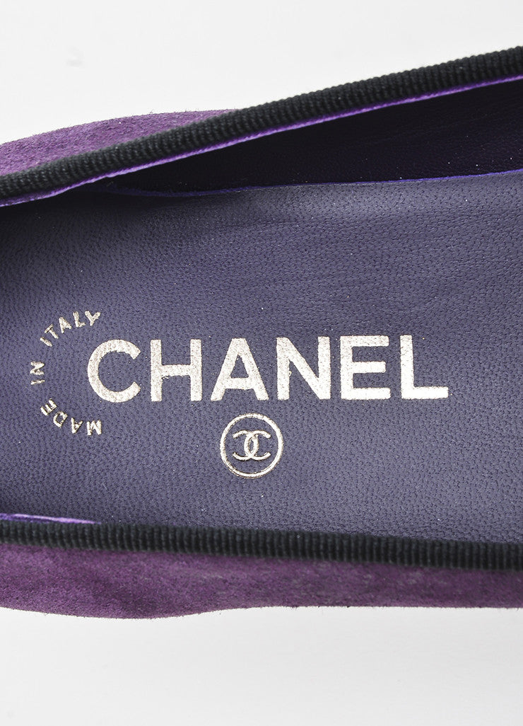 Purple and Black Chanel Suede Cap Toe 'CC' Ballerina Flats Brand