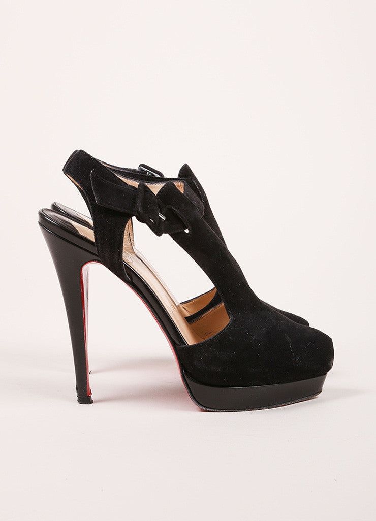 "Christian Louboutin Black Suede Peep Toe T-Strap ""Orlan 140"" Sandals Sideview"