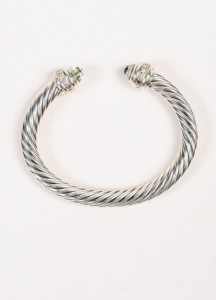 "David Yurman Sterling Silver Prasiolite 7mm ""Cable Classics"" Bracelet Top"