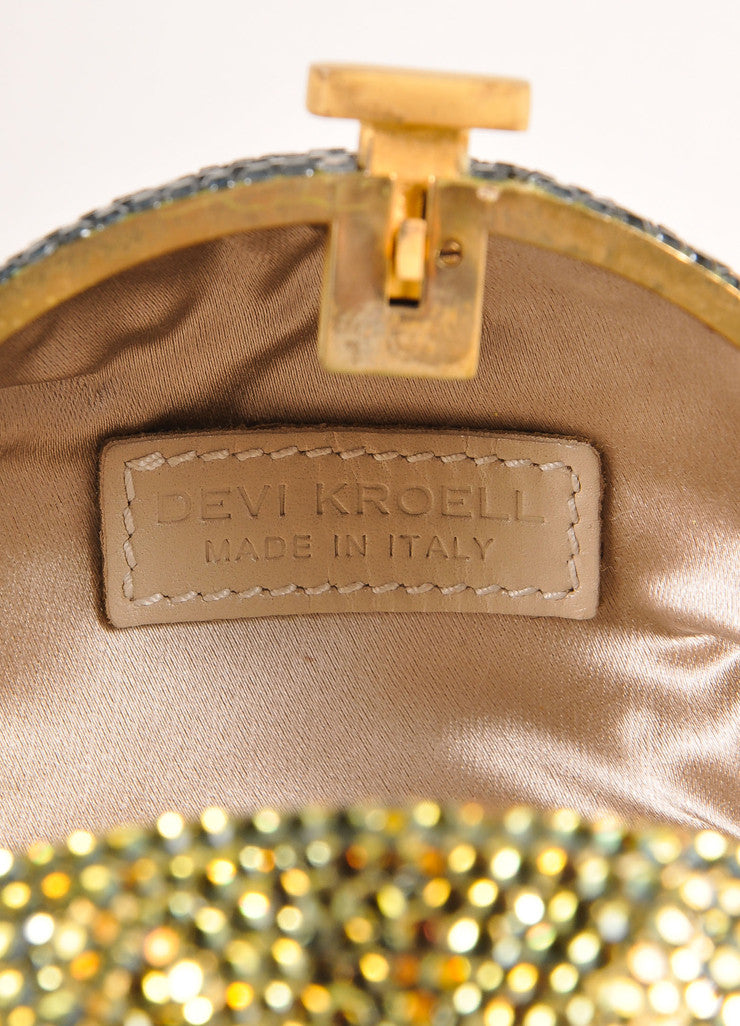 Devi Kroell Green and Gold Toned Rhinestone Sphere Small Minaudiere Clutch Bag Brand