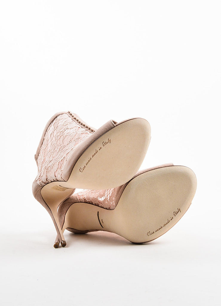 "Dolce & Gabbana Dusty Pink Suede Lace ""Keira"" Peep Toe Booties Outsoles"