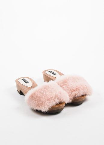 Pink Dolce & Gabbana Mink Fur & Wood Studded Open Toe Clogs Front