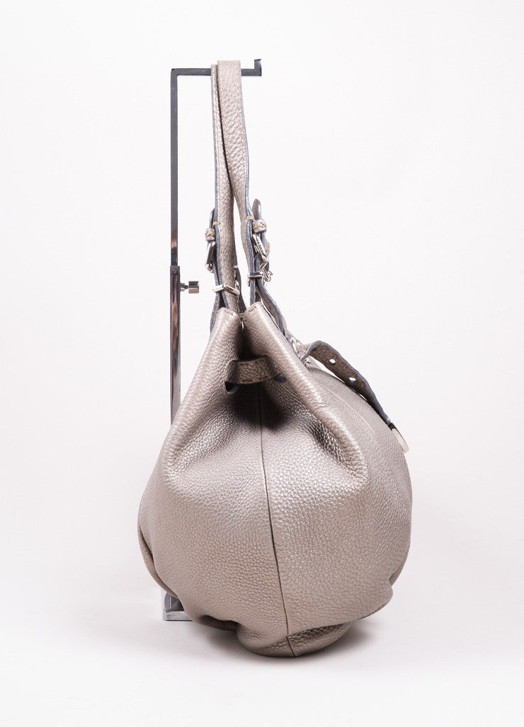 "Fendi Silver Pebbled Leather"" Selleria Pomodorino"" Drawstring Belt Handbag Sideview"
