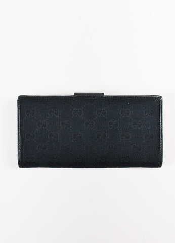 "Gucci Black Canvas Leather Monogram ""Abbey"" Continental Snap Wallet back"