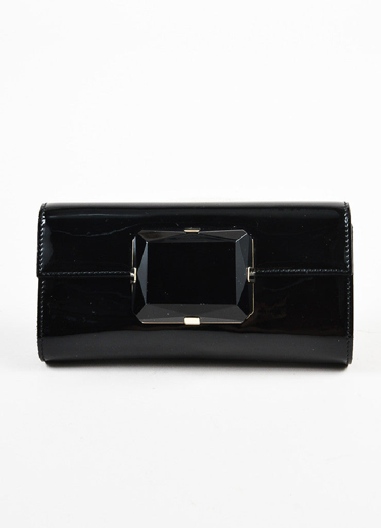 Gucci Black Patent Leather Oversized Gem Clutch Bag Frontview