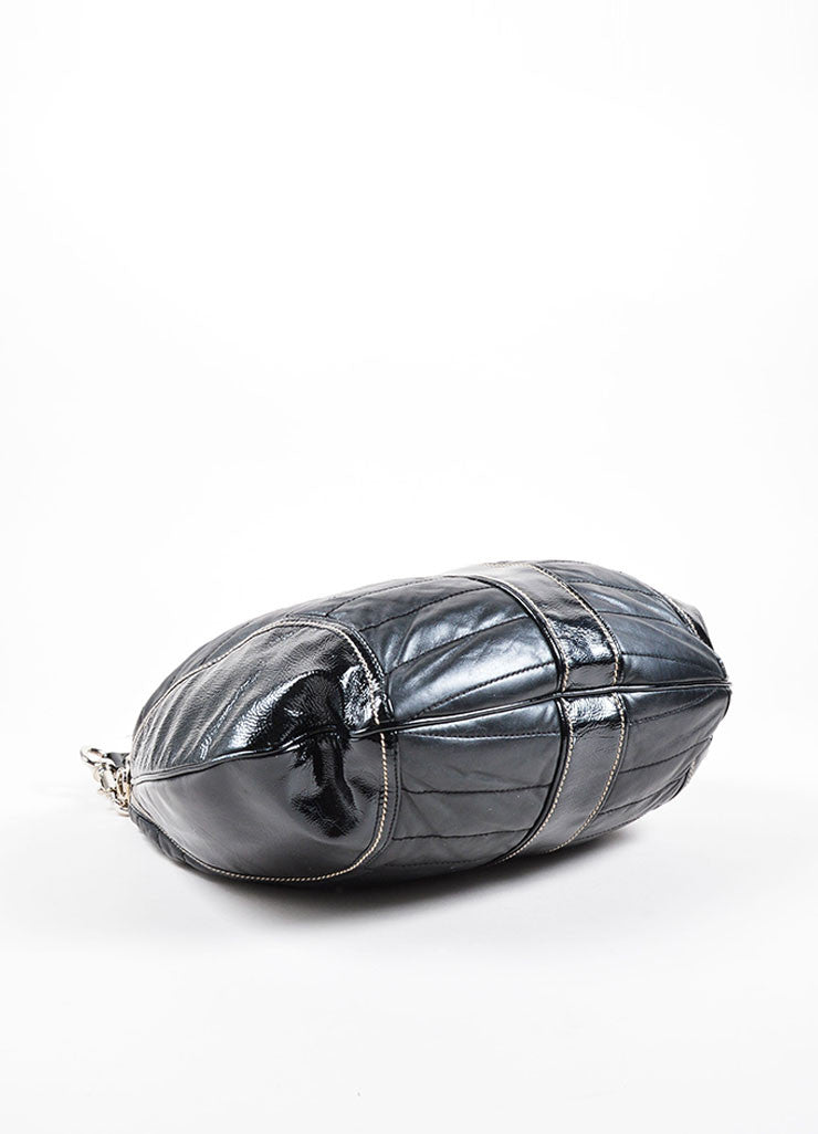 Gucci Black Patent Quilted Leather 'GG' Hobo Bag Bottom View