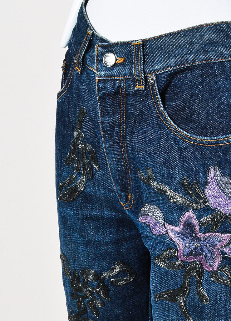 Gucci Blue, Lilac, and Metallic Silver Denim Floral Embroidered Wide Leg Jeans Detail