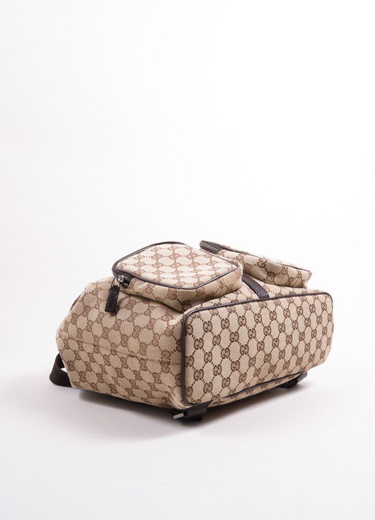 "Gucci Brown ""GG"" Monogram Canvas Backpack Bottom View"
