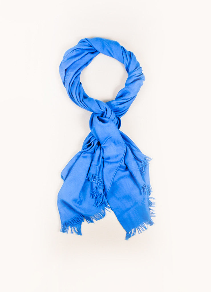 Hermes Blue Cashmere and Silk Jacquard Stripe Logo Print Fringe Wrap Shawl Scarf Frontview