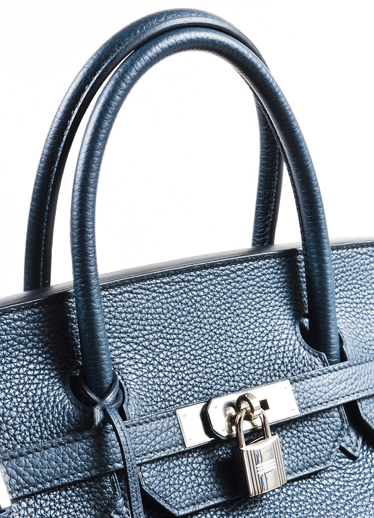 "Hermes Navy Blue Clemence Leather Palladium Hardware ""Birkin"" 40 cm Bag Detail 2"
