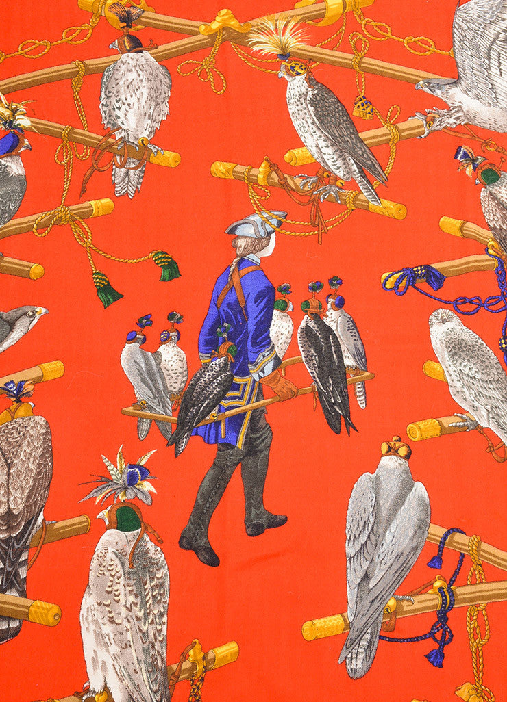 "Hermes Red and Multicolor Twill ""Les Oiseaux Du Roy"" Square Scarf Detail"