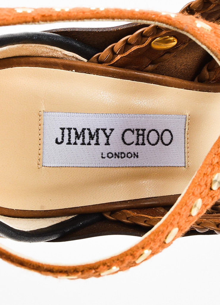 "Jimmy Choo Tan Patent Leather Peep Toe ""Vivienne"" Platform Sandals Brand"