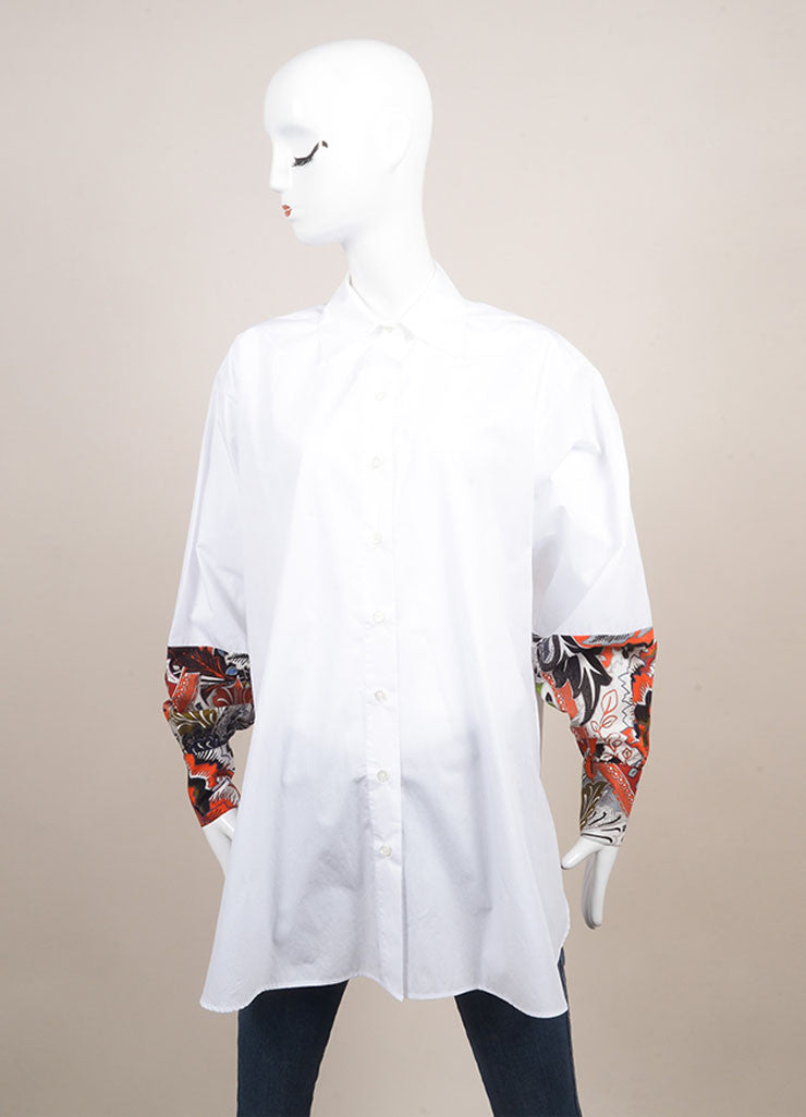 "Jonathan Saunders New With Tags White and Red Poplin Floral Print ""Eliza"" Shirt Frontview"