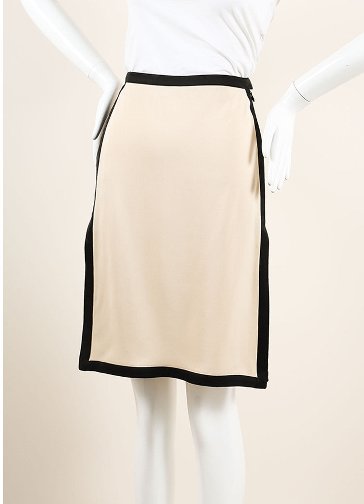 Lanvin Beige and Black Silky Color Block High Slit A-Line Skirt Sideview