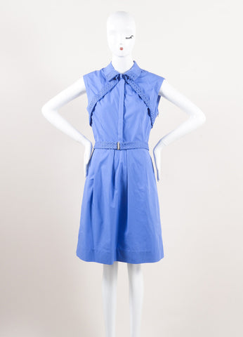 Lela Rose New With Tags Blue Cotton Poplin Lace Inset Sleeveless Belted Shirt Dress Frontview
