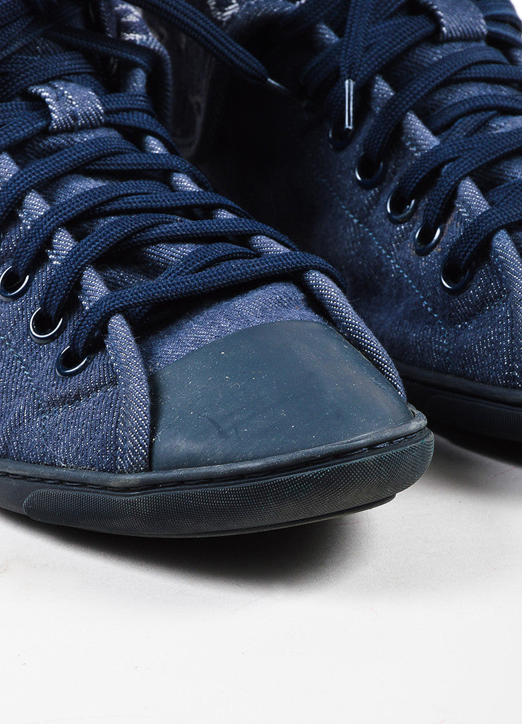 "Louis Vuitton Blue Monogram Denim High Top Lace Up ""Brea"" Sneakers Detail"