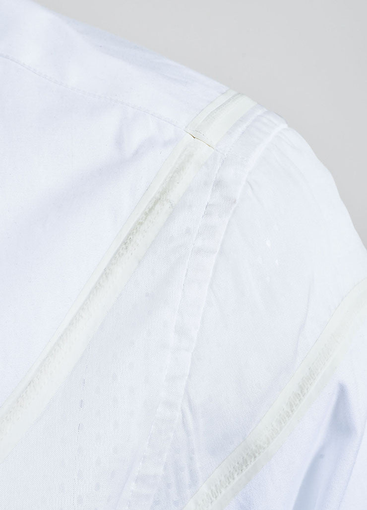 Men's Givenchy White Poplin Mesh Basketball Panel Button Up Shirt  Detail 2