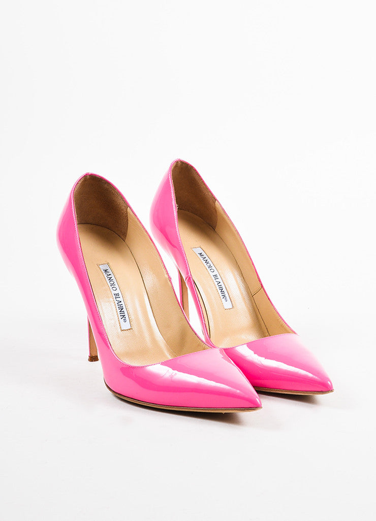 "Manolo Blahnik Hot Pink Patent Leather Pointed Toe ""BB"" Pumps Frontview"