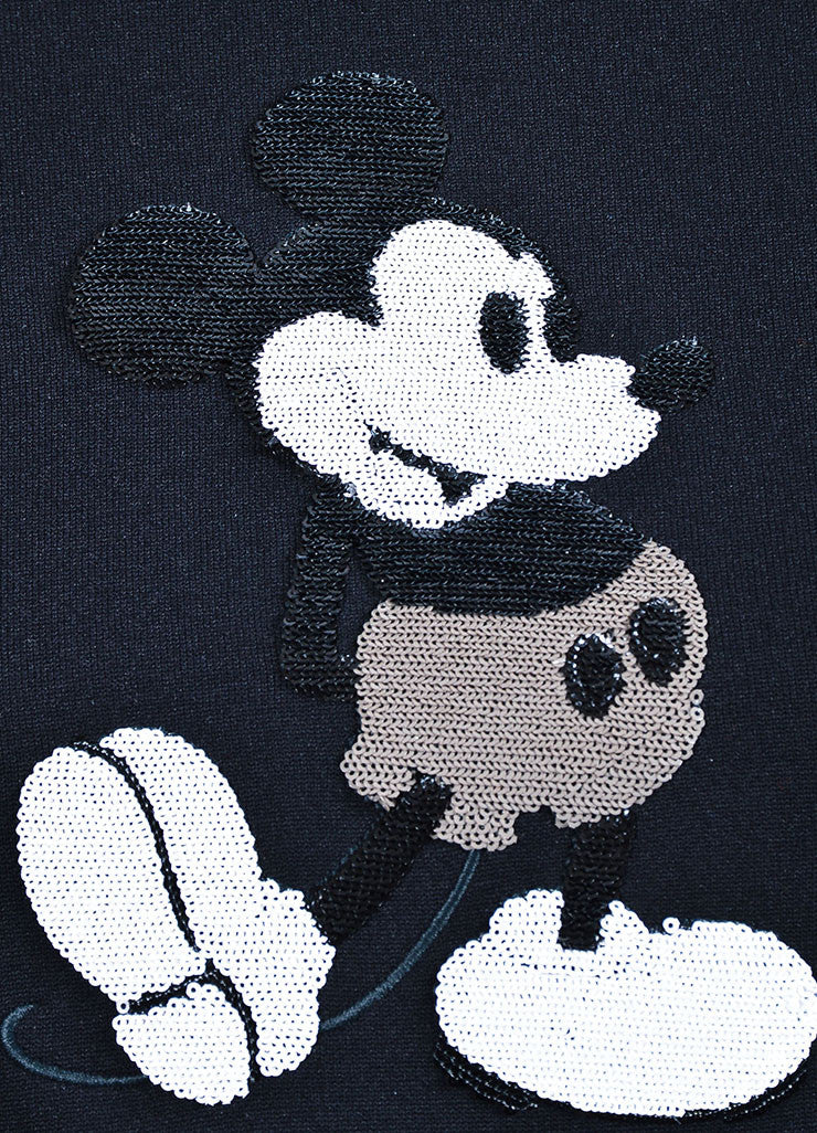 Marc Jacobs Black Cotton Sequin Mickey Mouse Cropped Sweatshirt Detail