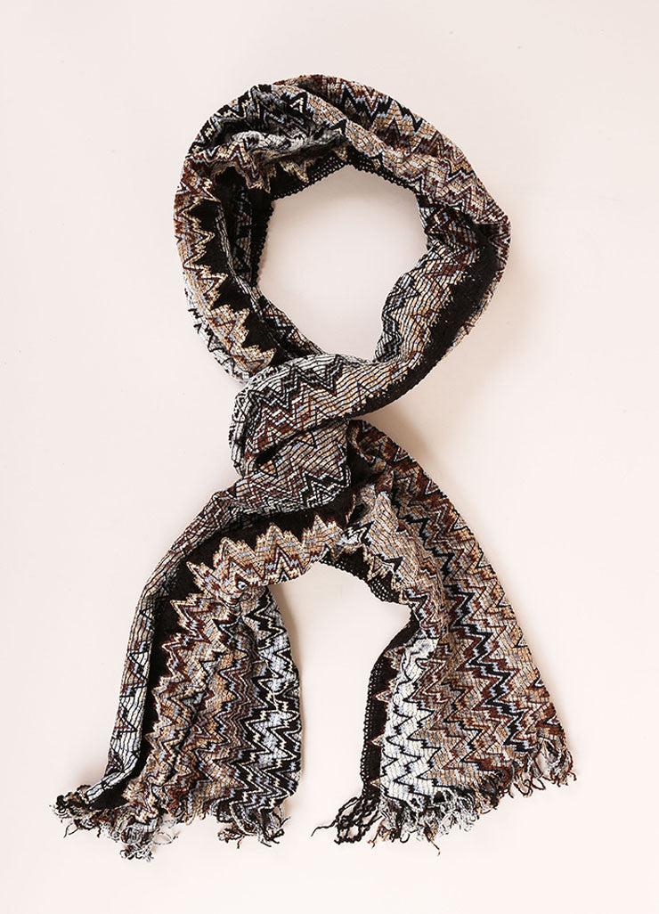Missoni Black, White, and Multicolor Woven Knit Chevron Print Tassel Scarf Frontview