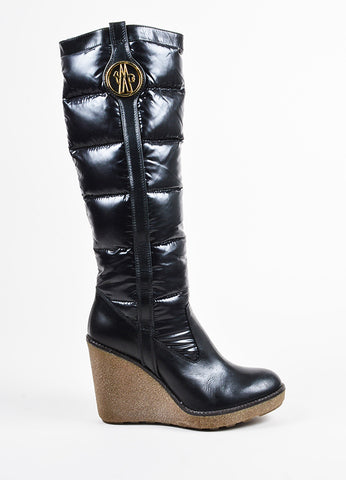 Black Moncler Nylon Puffer Rubber Wedge Knee High Boots Side