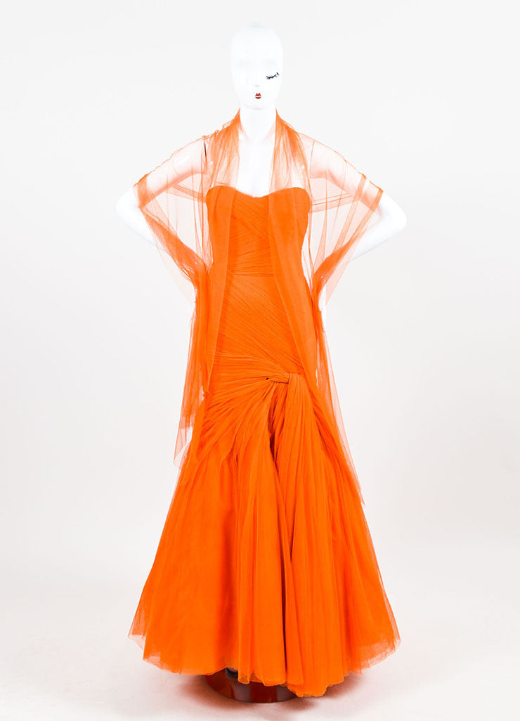 Monique Lhuillier Orange Strapless Mesh Tulle Full Gown Frontview