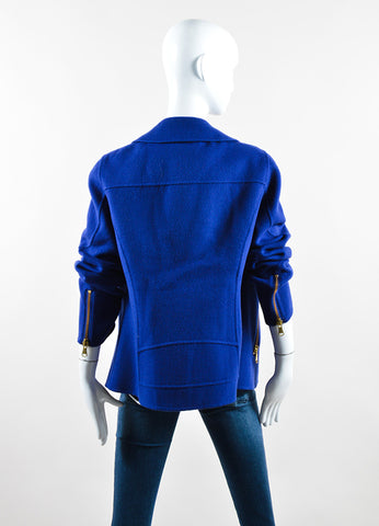 Moschino Cheap and Chic Royal Blue Wool Double Zipper Coat Backview