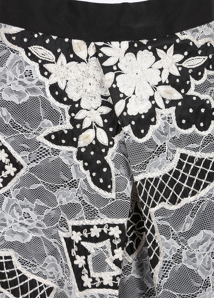 Naeem Khan Black and White Silk Lace Embroidered Floral Pleated A-Line Skirt Detail