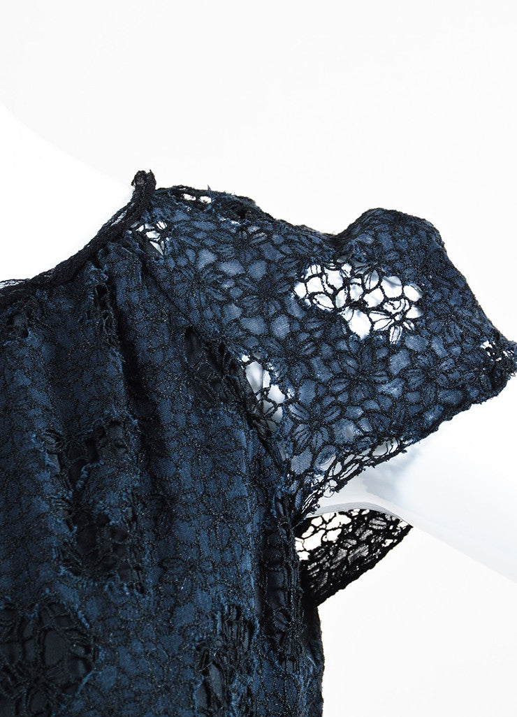 Nina Ricci Black Cotton Lace Short Sleeve Dress Detail