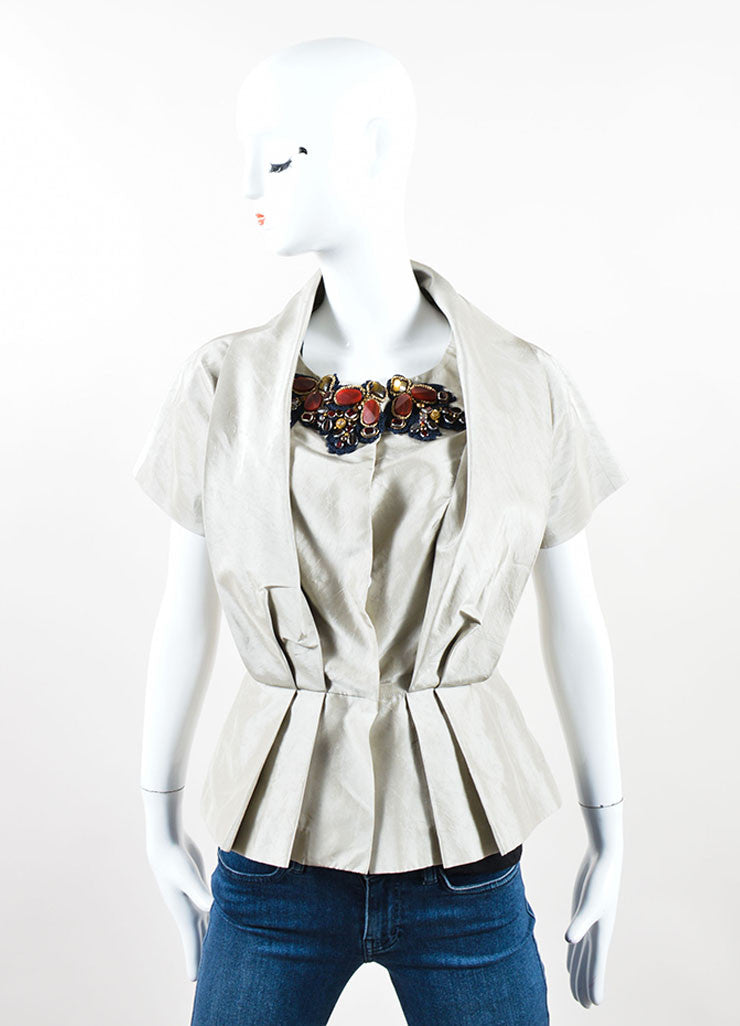 Oscar de la Renta Taupe and Gray Silk, Crochet & Bead Embellished Pleated Short Sleeve Top Front