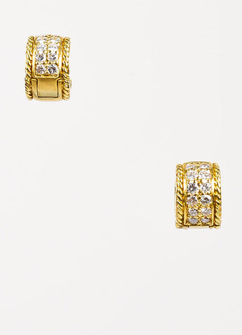 Penny Preville 18K Yellow Gold and Diamond Huggie Hoop Earrings Frontview