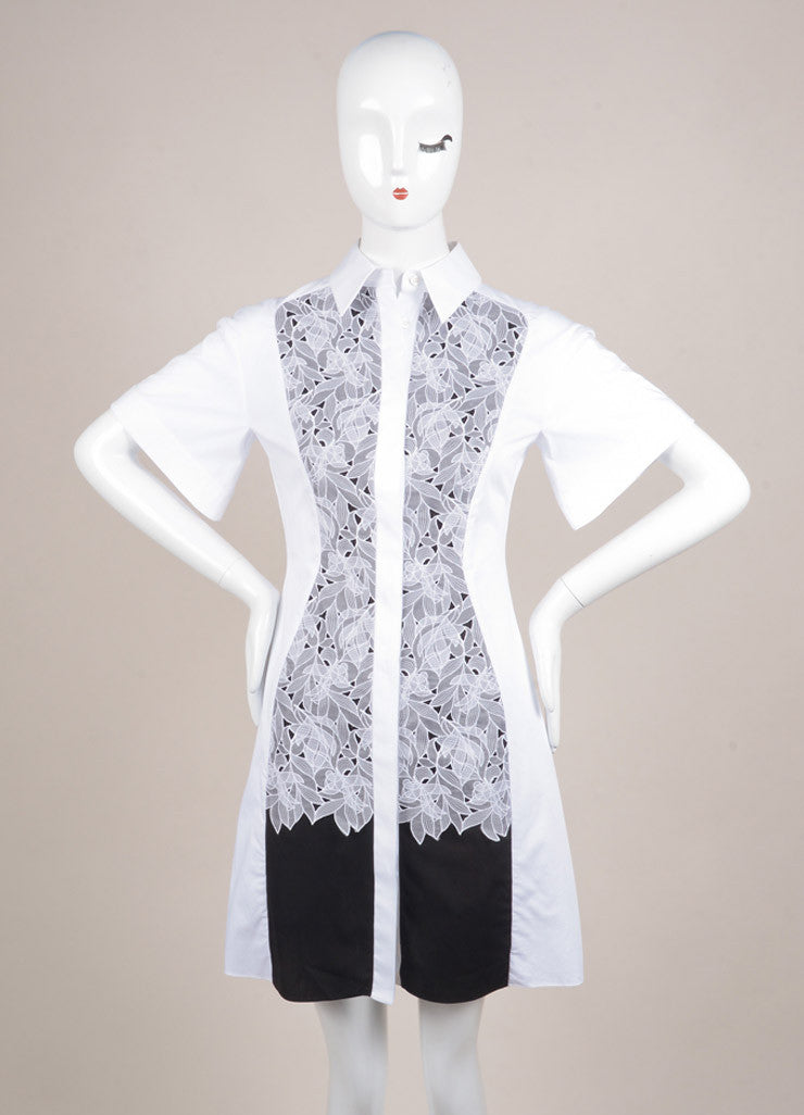 "Peter Pilotto New With Tags White and Black Poplin and Silk Lace Trim ""Cate"" Dress Frontview"