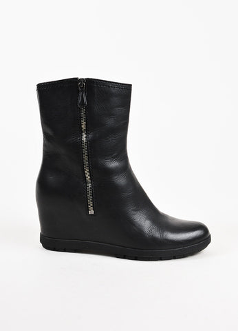 Prada Sport Black Leather Zip Up Covered Wedge Ankle Boots Sideview