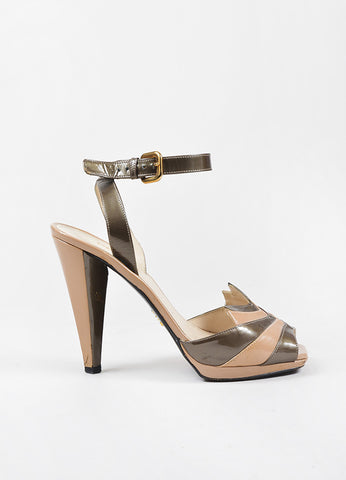 Tan and Grey Prada Patent Leather Peep Toe Strappy High Heel Sandals Sideview