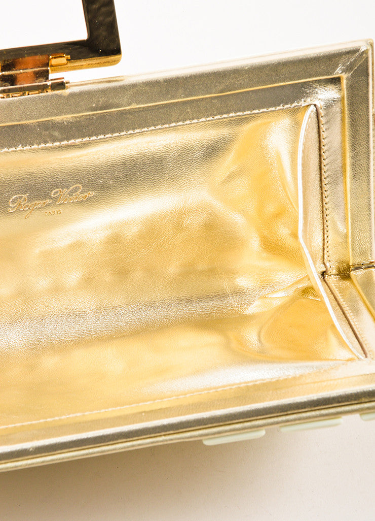 "Roger Vivier Metallic Gold and Cream Leather Studded ""Swiss Chocolate"" Clutch Bag Interior"