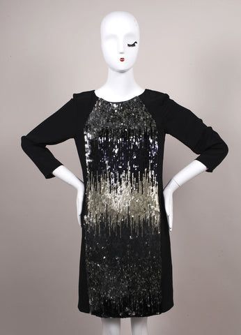 Schumacher New With Tags Black and Grey Sequin Embellished Shift Dress Frontview